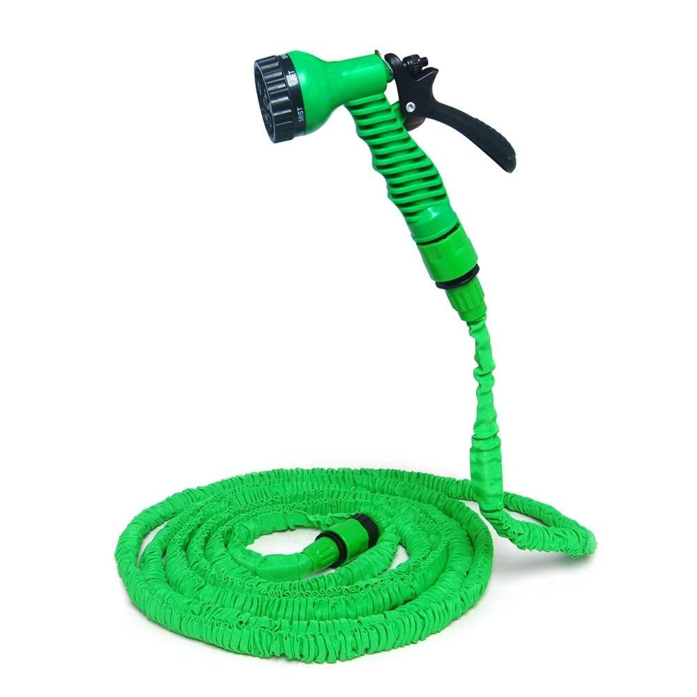 25 50 75 100 Feet Expanding Flexible Garden Water Pocket Hose Spray Nozzle Car