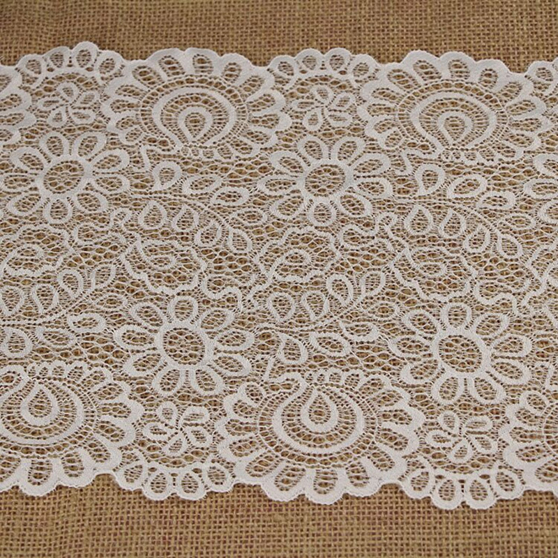 3 Meter/Lot 22cm Width Black White Eyelashes Lace Trim Fabric Flower DIY Crafts Wedding Dress Clothing Material Handmade