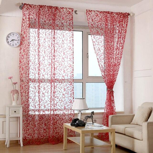 Rosso rosa Caffè giallo Pteris tende di tulle Per soggiorno fiore Sheer Voile tende Per La Camera Da Letto tenda tenda del filato WP173 & 20
