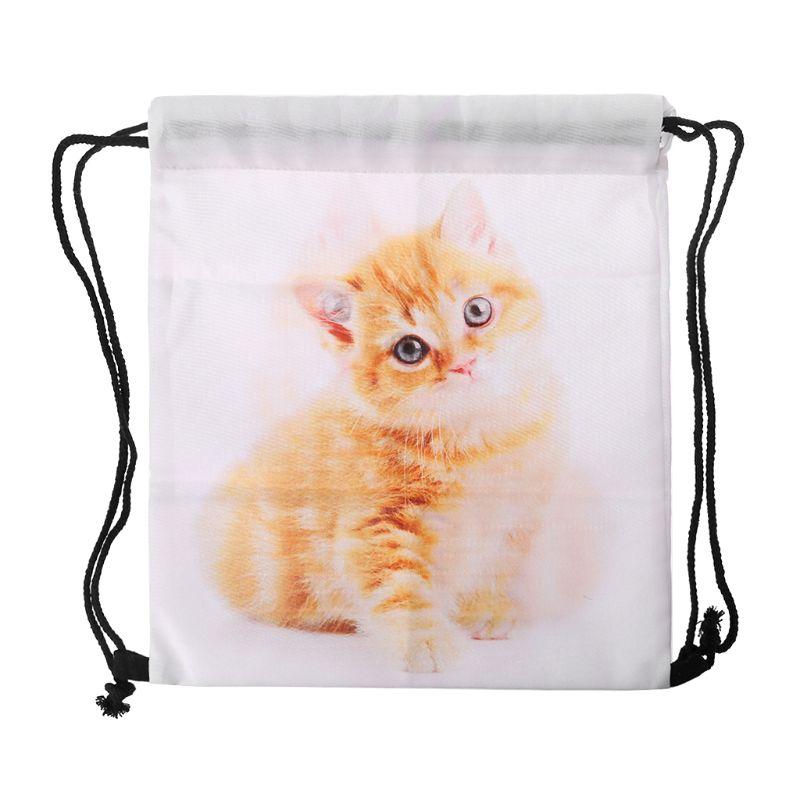 Unisex 3D Printed Drawstring Bags Rucksacks Cinch Sack Animal Pattern Cute Cats Backpacks For Women Polyester Shopping Bag