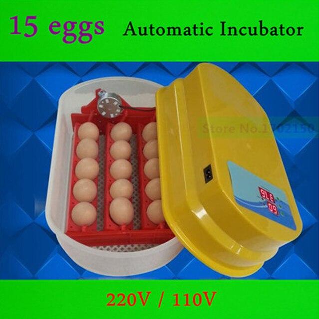 15 eggs Automatic Incubator 220V / 110V  Automatically turn the eggs 80W Mini Incubator Free Eggtester