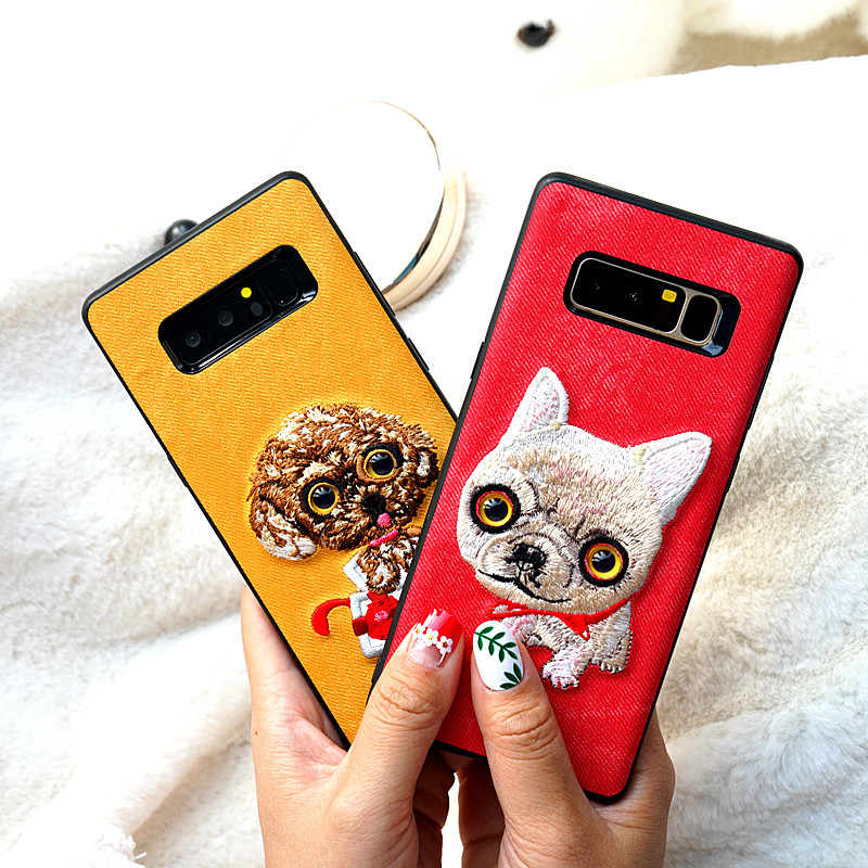 For Samsung S8 case denim all-inclusive Cute animal embroidery back cover For Samsung Galaxy Note 8 A5 A7 A8 S7 S9 Plus J3 J5 J7