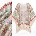 Mulheres inverno Flor Impressão Kimono Encobrir Casaco Cardigan Shawl Enrole Tassel Cappa H34