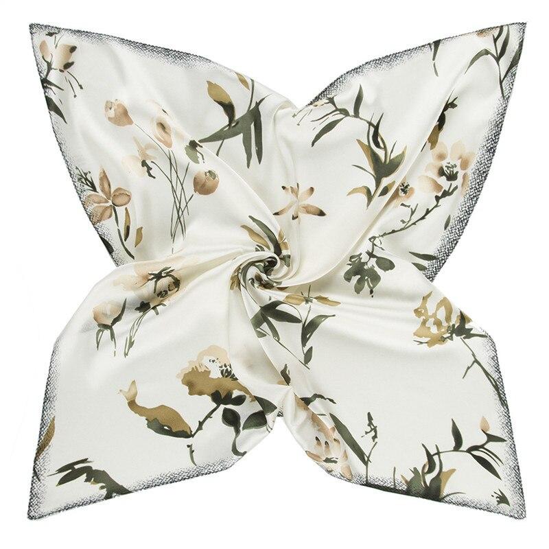 60cm 2020 New Brand Women Twill Silk Scarf Small Floral Printing Bandana Neckerchief Scarf Fashion Kerchief Square Scarves