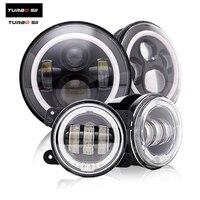TURBOSII 7 дюймов 60 Вт круглый Ангел глаз светодиодный фары лампы с 4 Halo Кольцо Светодиодный Противотуманные фары