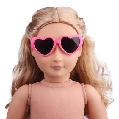 1 pcs מיני בובת משקפיים עבור 43 cm חדש נולד בובת אביזרי 18 אינץ אמריקאי בובת פלסטיק לב פרח משקפי שמש