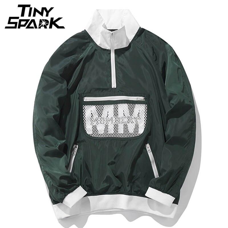 Мужские harakuju куртка японский ветровка Хип-хоп Легкая куртка со стоячим воротником пуловер оверсайз зеленый трек уличная 2018 Весна
