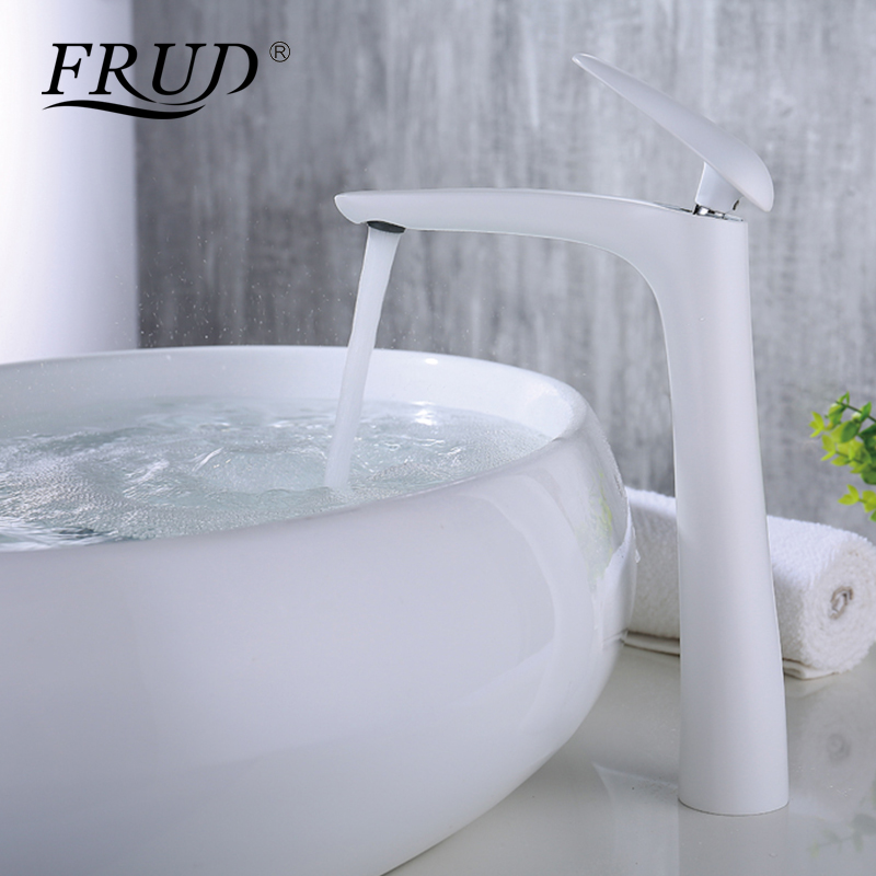 FRUD New Basin Faucets Modern Style Bathroom Faucet Deck Mounted Waterfall Single Hole Mixer Taps Both Cold and Hot Water Y10016 bathroom basin faucets modern chrome finished bathroom faucet single hole cold and hot water tap basin faucet mixer taps