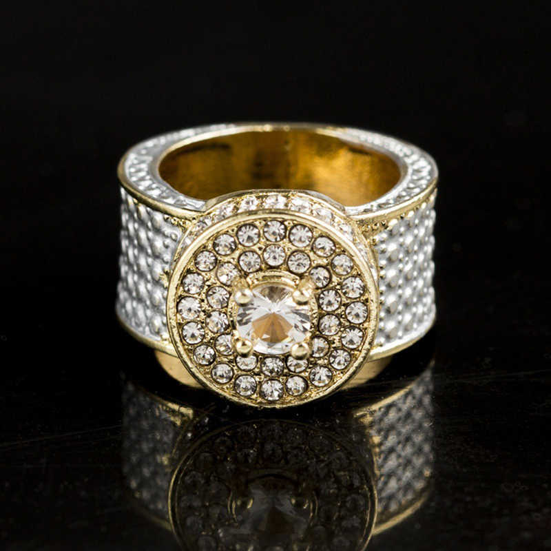 Hip Hop Bling Ice Out Full Rhinestone Round Rings Male Gold Color Cubic  Zirconia Rings for 6724c28f1c54