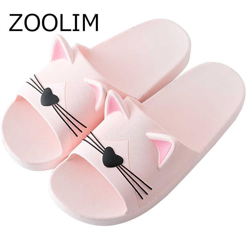a47289a3edd7cd ZOOLIM Shoes Women Slippers Cartoon Cat Indoor Family Bathroom Slippers  Lovers Slides Anti Slip Unisex Flip