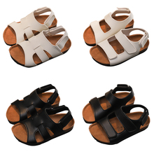Kids Sandals Footwear For Children Girls Boys Beath Shoes Leather Breathable Flats Summer Soft Cork P25