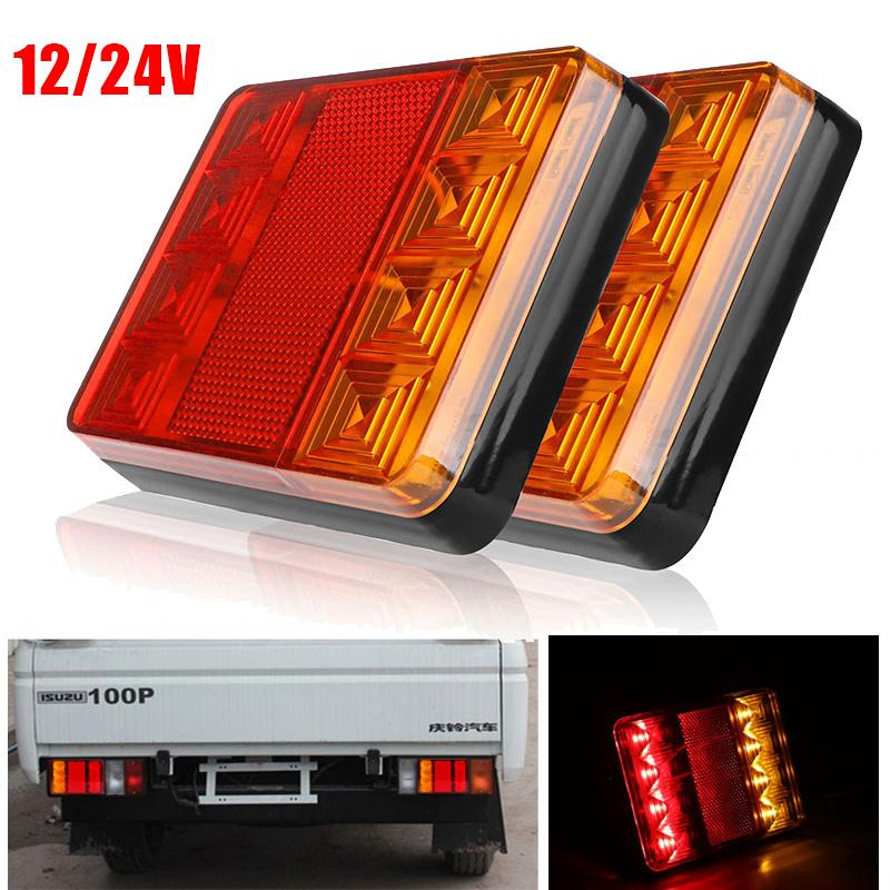 Vehemo 12V Waterproof Trailer Truck 8 LED Taillight Tail Light Rear Lamps Turn Signal Brake Number Plate Light Lamp For Trailer hireno tail lamp for mercedes benz w220 s280 s320 s350 s500 s60 1998 05 led taillight rear lamp parking brake turn signal light