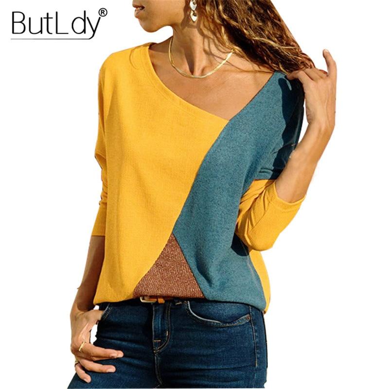 Color Block Patchwork T Shirt Women Long Sleeve Skew Collar Casual Shirt Fashion 2018 Winter Basic Tops Tees Female S-5XL