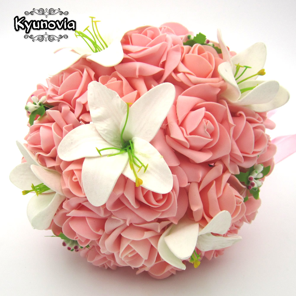 Kyunovia white wedding bouquet artificial rose flowers for One flower bridal bouquet