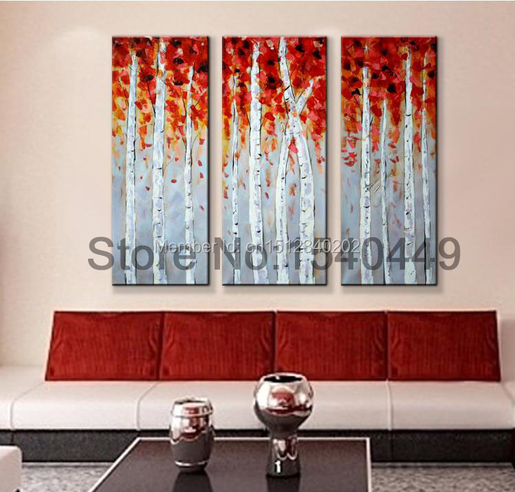 free shipping red birch tree canvas pictures 3 piece modern living