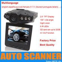 """Con mejor puntuación 2.5 """" pantalla LCD 6 LED de visión nocturna del coche del vehículo Detector de la cámara de 100 Degree ángulo de visión amplio HD del coche DVR"""