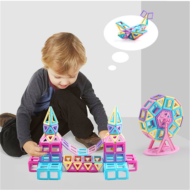258pcs pink block magnetic designer building set model and construction toy plastic magnetic block educational toy for kids 1