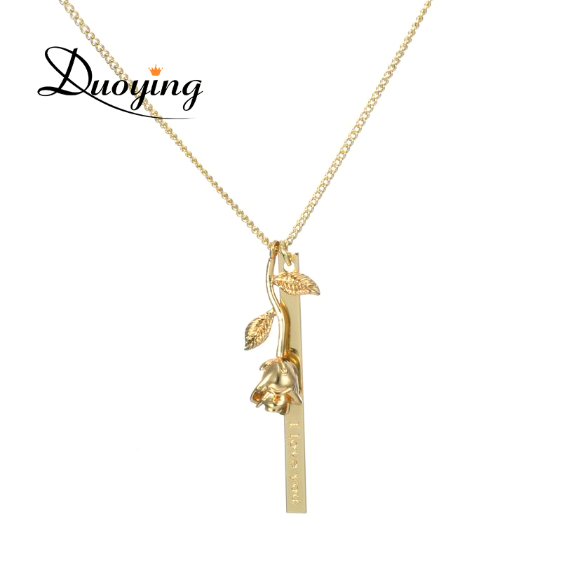 Duoying Brand Personalized Bar Necklace Rose Flower Custom Name Necklace Supplier for Ebay Amazon Engrave different Language