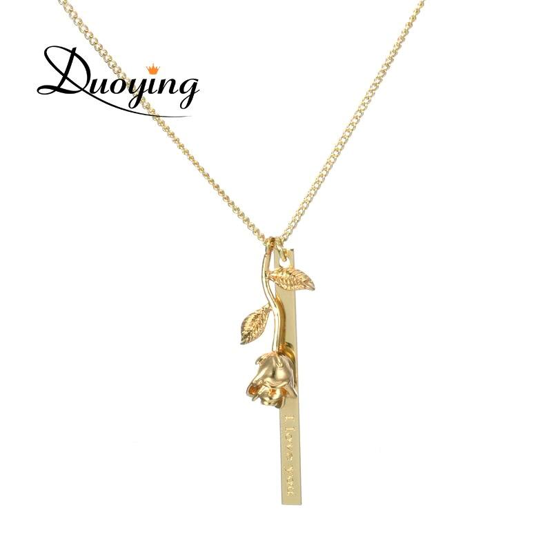 Duoying Marke Personalisierte Bar Halskette Rose Blume Custom Name Halskette Lieferant für Ebay Amazon Gravieren verschiedenen Sprache