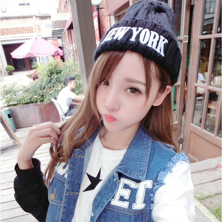 2017 Sale Winter Hat Trade Knitted Embroidery Letters All-match Pointy Head Cap Trendsetter Hipster Sets Edition Joker Pointed skullies hot sale candy sets color pointed hat knitting hat sets hat cap 1866951
