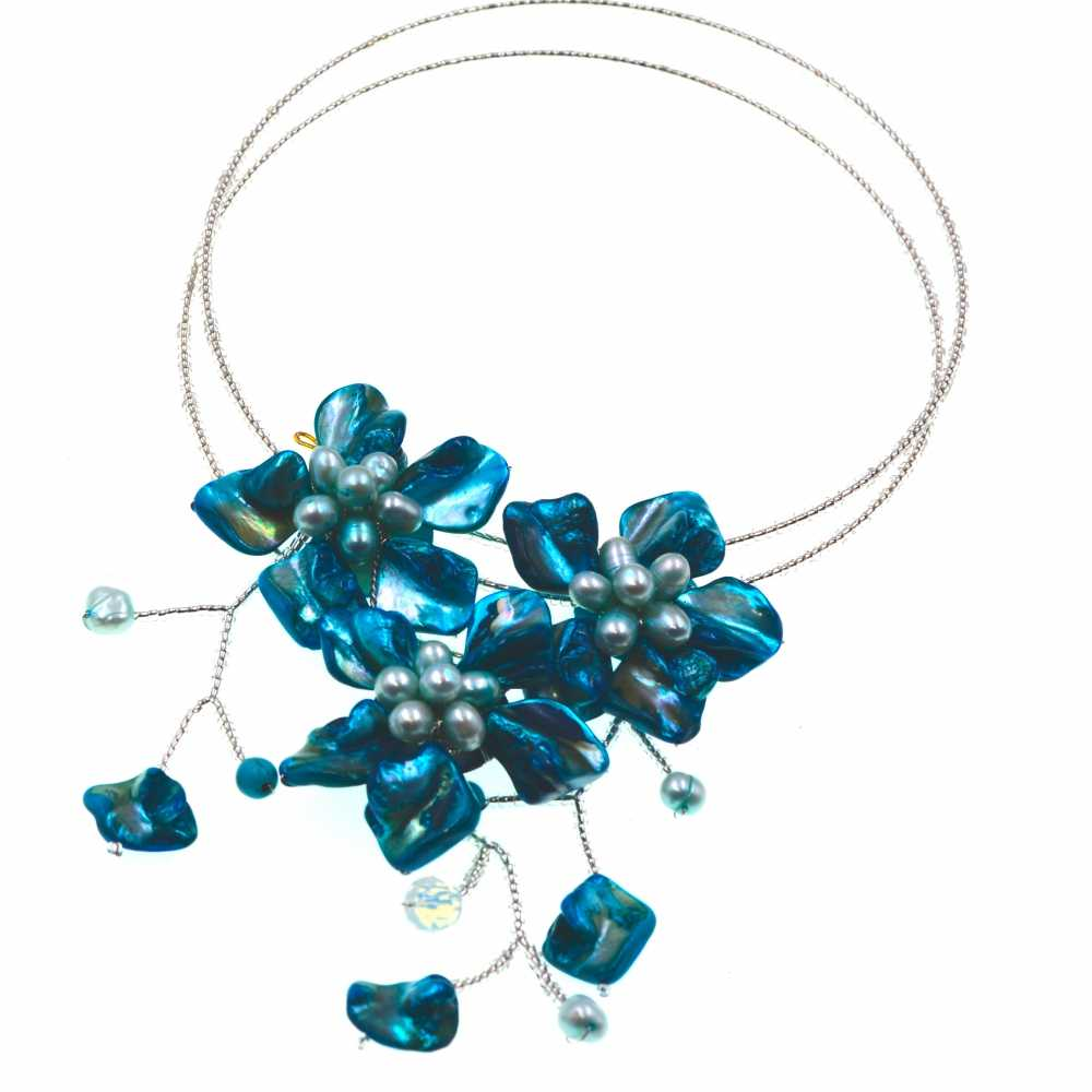 Europe Chic Fashion Blue baroque shell white seed beads wrap flower necklace Brand Jewelry 2017