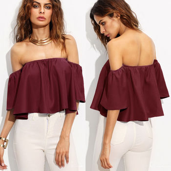 Sexy arrival Women Summer Loose Off Shoulder Tops Flare Short Sleeve Blouse Ladies Casual Tops Solid Red Blue White 1