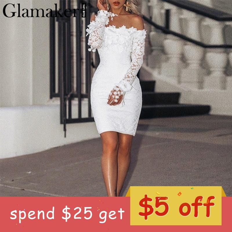 Glamake White lace halter sexy bodycon dress Women off shoulder long sleeve beach dress Elegant summer party vintage mini dress