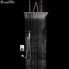 Luxury Brass Bath Faucet Mixer In-Wall Mixer Valve Shower Set with Spout Shower Head Ceiling Arm Three Functions Embedded Box bathroom brass wall mounted bath shower set embedded box 3 ways mixer faucet valve chrome plated 8 10 12 inch rain shower head