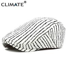 3bbc61e24b3 CLIMATE Men Women Vintage Striped Berets Flat Cap Hat Men White  Zebra-stripe Beret Men