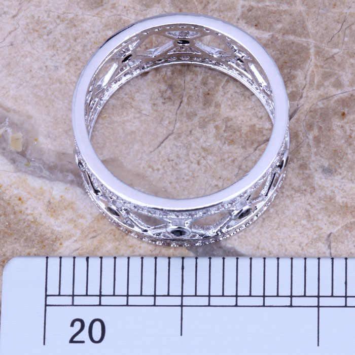Awesome Black Cubic Zirconia CZสีขาวชุบเงินเครื่องประดับแหวนขนาด 6 / 7 / 8 / 9 R0501