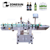ZONESUN XL T822 Automatic Round Surface Labeling Machine Label Applicator Food Paint Can Bottle Vertical Rolling Sticker Labeler
