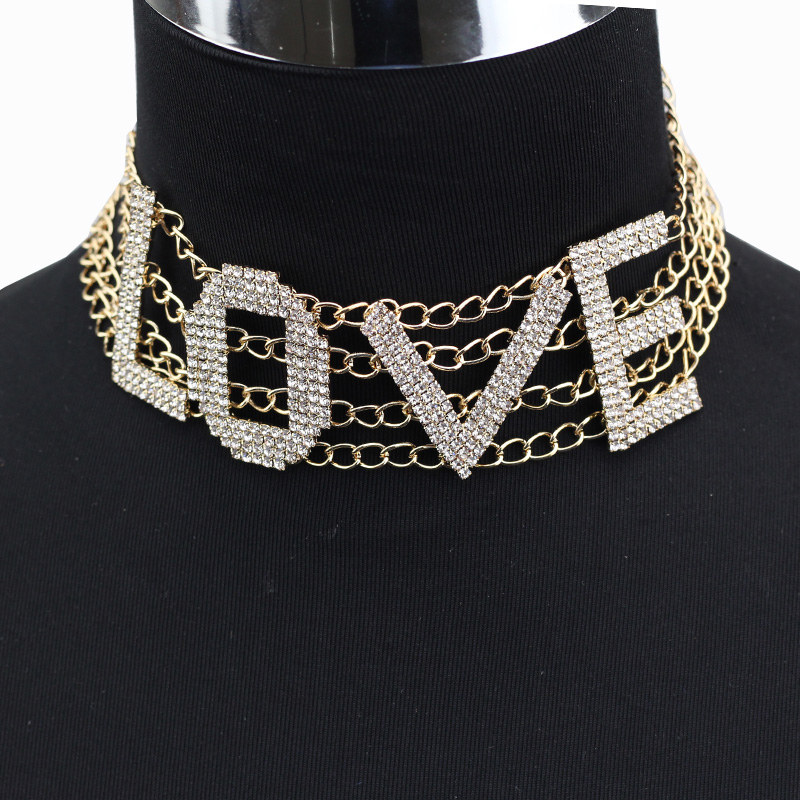 Letter Rhinestone Choker Necklace Women SEXY Maxi Statement Necklaces LOVE  Neck jewellery 2017 Collar Collier femme 21dc9ce432b5