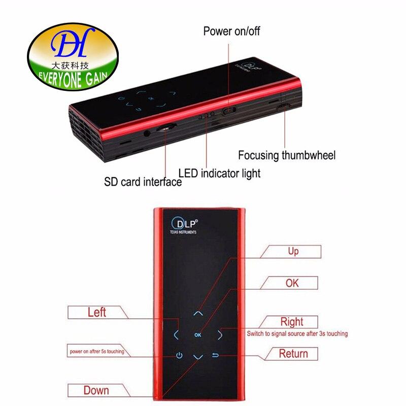 Todos Ganan DH-60 Mini Portátil DLP Proyector HD 1080 P Proyector Beamer HDMI Pa