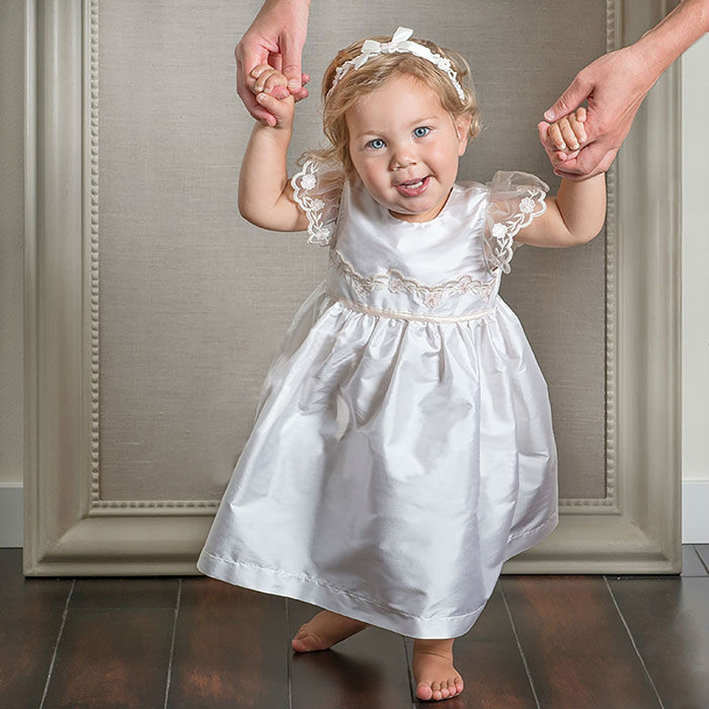 With Headband Baby Baptism Dresses Summer style Short Sleeves ankle length white and Ivory baby girl christening gowns vestidos vintage baby girl christening dresses a line beading short sleeves solid white and ivory vestido infantil menina baptism gowns