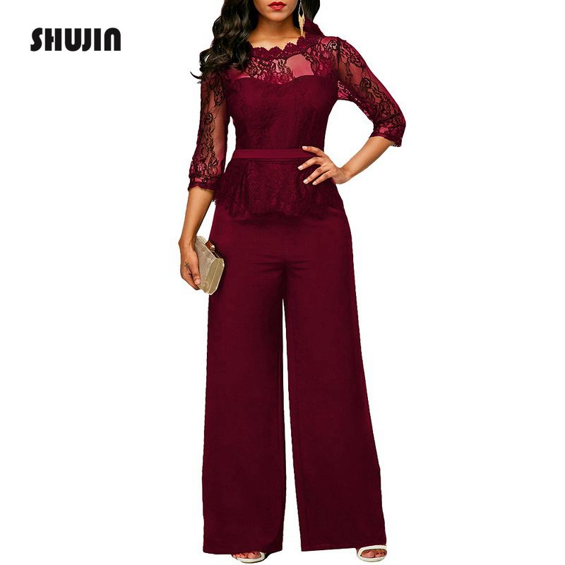 SHUJIN 2018 Lace   Jumpsuits   For Women Autumn High Waist 3/4 Sleeve One Piece Peplum Rompers Elegant Wide Leg Pants Plsu Size