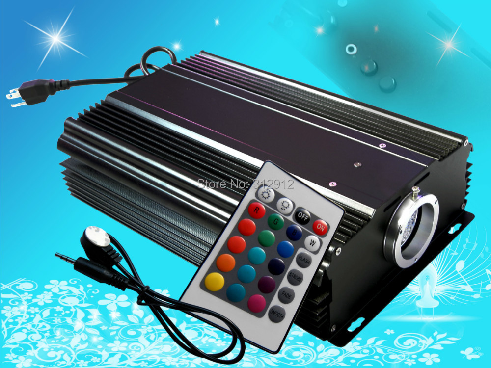 24key IR 75W LED RGB light engine,AC100-240V input 27w led rgb fiber optic illuminator with 24key ir remote and shooting star wheel ac100 240v input