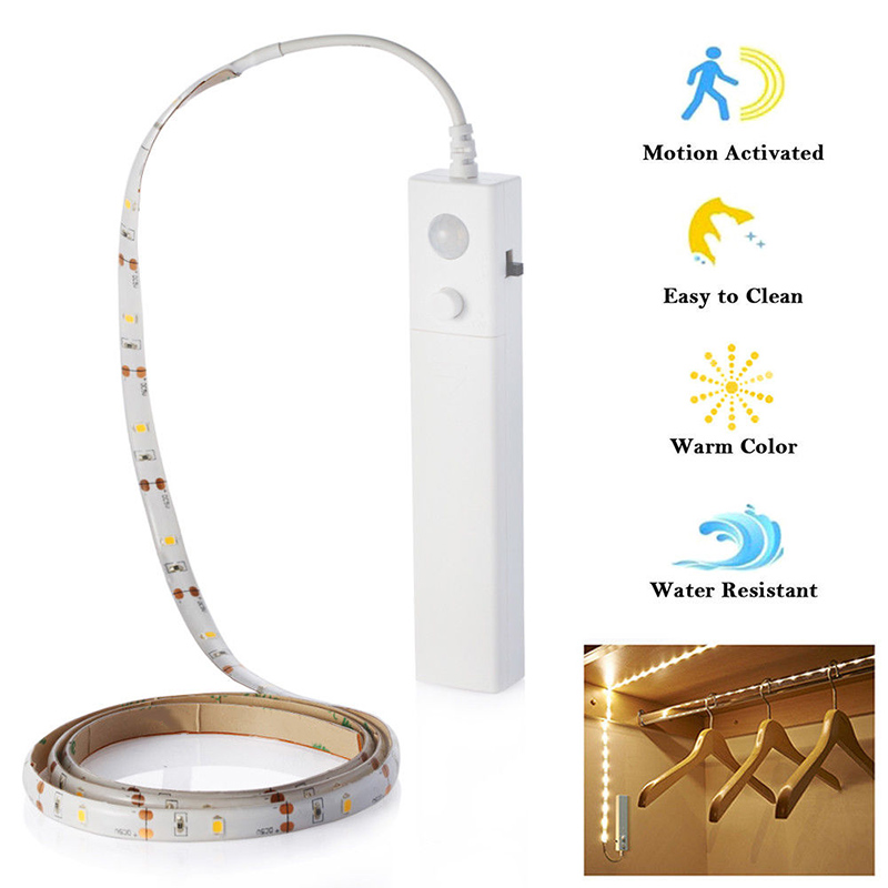 LED 1M Strip Light Wireless PIR Motion Sensor Wardrobe Cabinet Battery Operated CLH@8