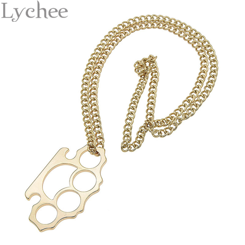Lychee cute gold color brass knuckle duster pendant link chain lychee cute gold color brass knuckle duster pendant link chain necekace jewelry for men women in pendant necklaces from jewelry accessories on mozeypictures Choice Image