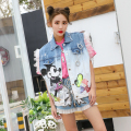 2017 spring new Cartoon sequins hole wear white Vintage denim  vest female loose jacket tide