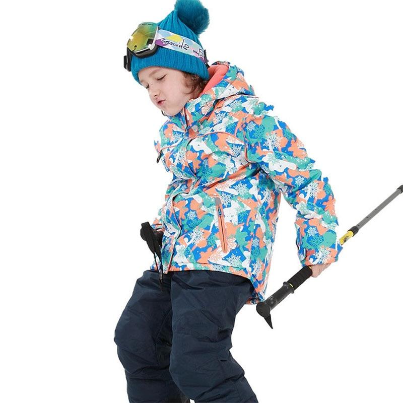 Boys Girls Children's Snow Ski Suits Outdoor Wear Hooded Jackets+Bandage Pants Kids Winter Warm Snowboard Ski Wear Costume