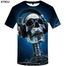 цены KYKU Skull T-shirt Men Blue Music Tshirt Hip Hop Tee Metal 3d Print T Shirt Punk Rock Casual Mens Clothing Summer Funny T Shirts