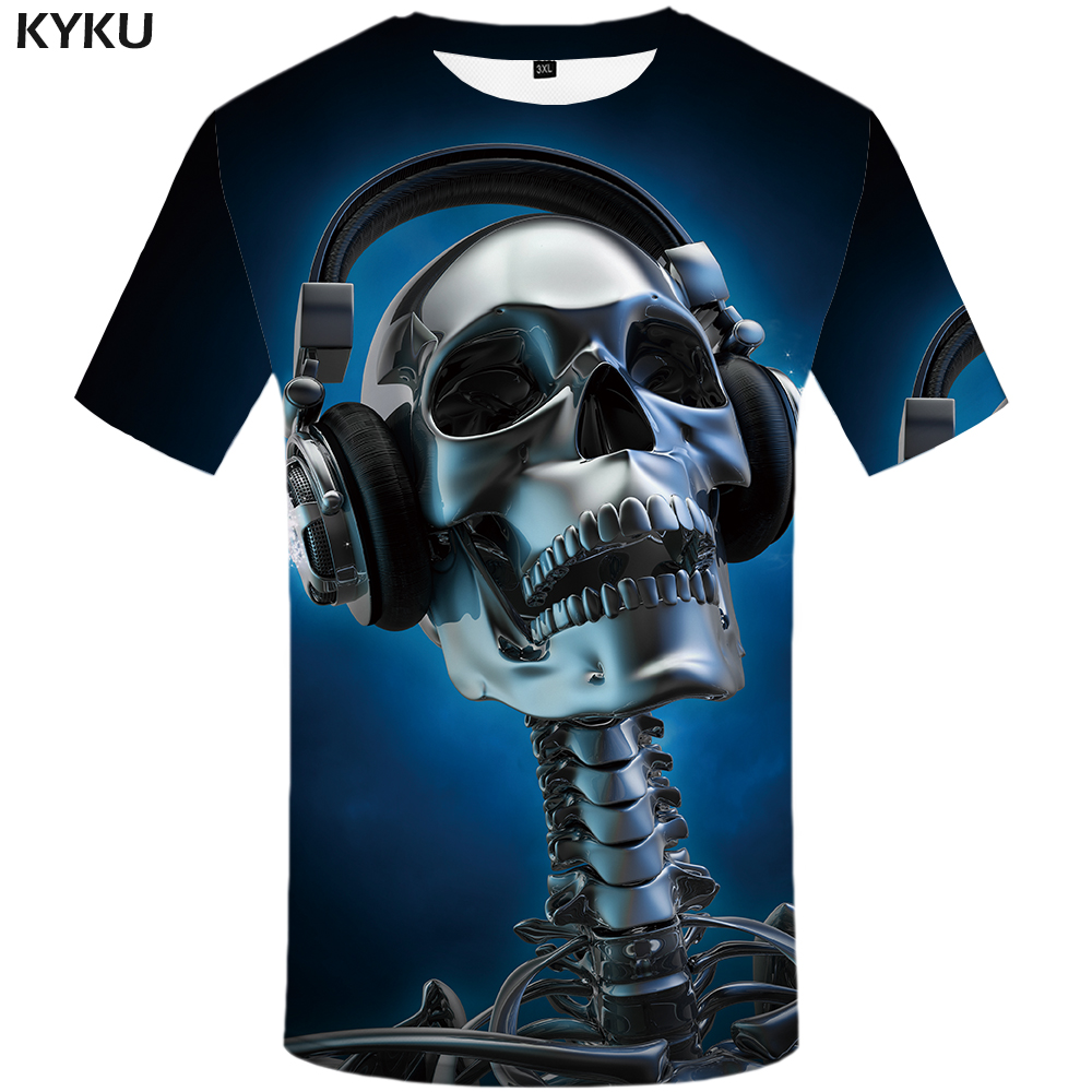 KYKU Skull   T  -  shirt   Men Blue Music Tshirt Hip Hop Tee Metal 3d Print   T     Shirt   Punk Rock Casual Mens Clothing Summer Funny   T     Shirts