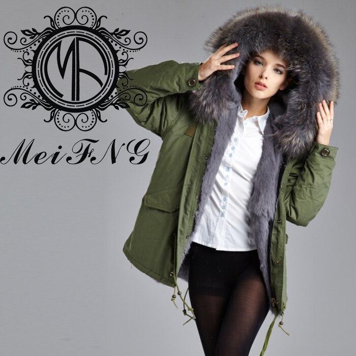 Free Shipping Grey Hot Sales Rabbit Fur Lining Parka Jacket With Raccoon Fur Collar