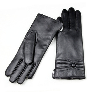 Image 5 - Sheepskin leather gloves womens thick winter warm white rabbit fur lining new ladies touch screen gloves