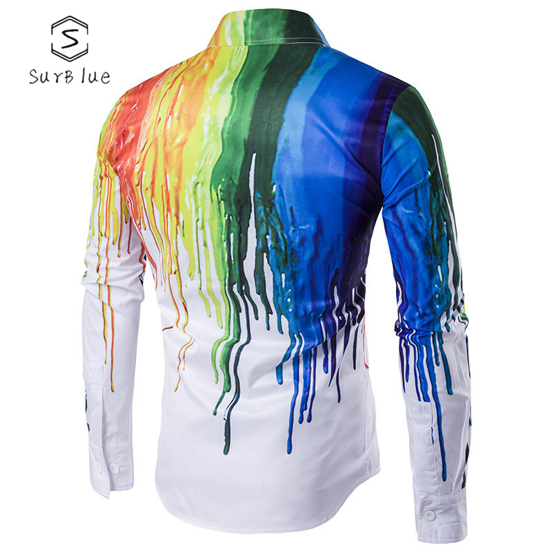 3d Color Splash Paint Long-sleeved Shirt 2018 Fashion Popular New Men's Autumn And Winter Personality Casual Long-sleeved Shirt