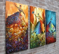 Framed oil painting three picture combination modern abstract dancer girls oil paintings for wall decoration
