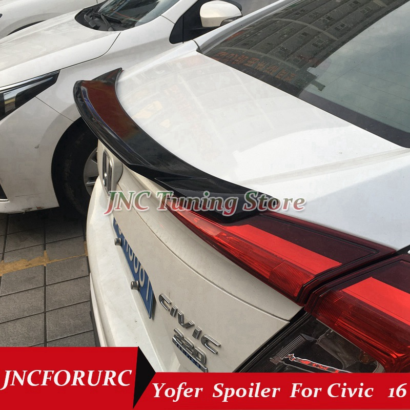 JNCFORURC Rear Trunk Car Spoilers Wings For Honda Civic 10th Generation 2016 2017 Yofer Style ABS Plastic Material Ducktail Lip