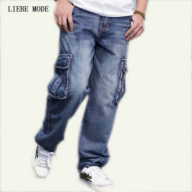 big size mens denim cargo pants jeans men hip hop loose
