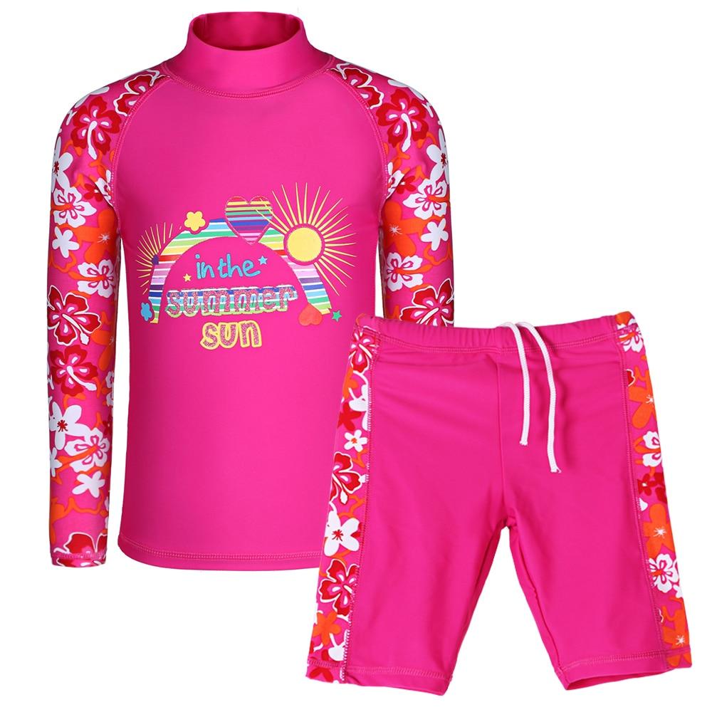 BAOHULU 2018 Kinderen UPF 50 + UV Beschermende Badmode Lange Mouw Rash Guards Zwemkleding Sunblock Badpak voor Meisjes 3-12Y