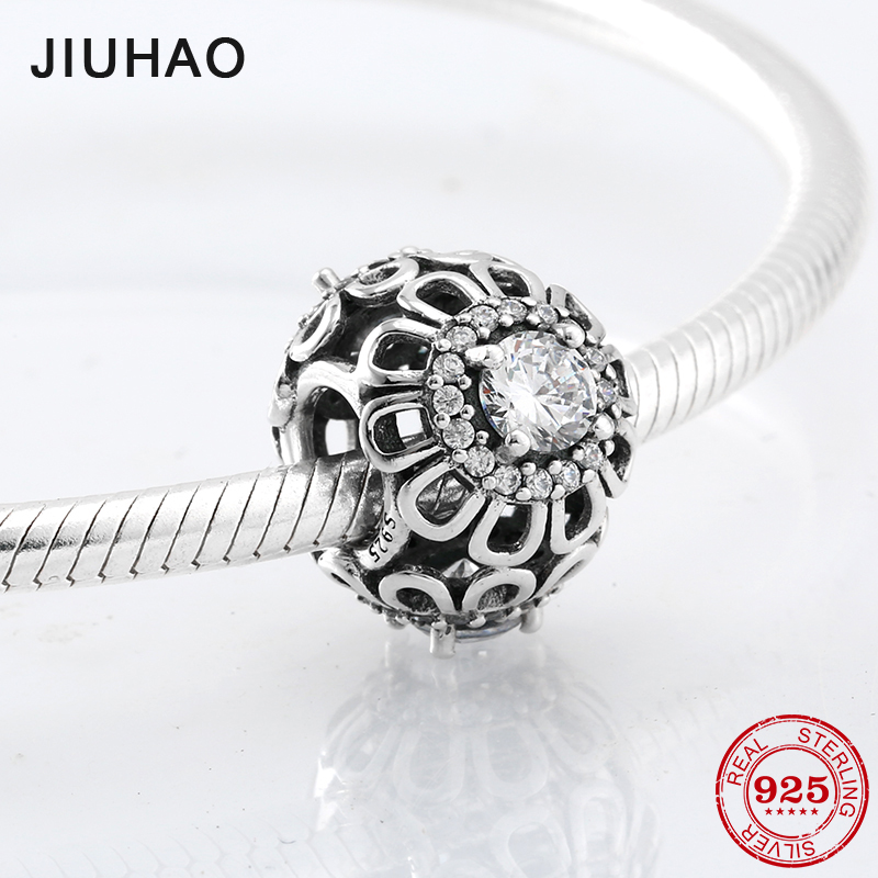 Sunflower Clear Crystal zircon Beads 925 Sterling Silver hollow Charm Bead Fit Origina Pandora Charms Bracelet Jewelry making